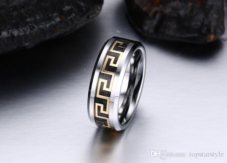 미국 wholesales 만리 장성 기호 속지 텅스텐 카바이드 반지 패션 쥬얼리 반지 손가락 망 스타일에 대한