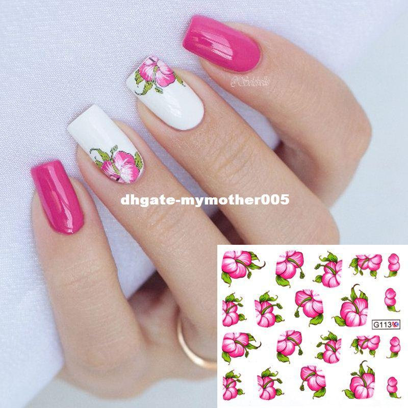 Nail Art Water Decals Transfer Stickers Red Bloomy Floral Flower Nail Sticker G113