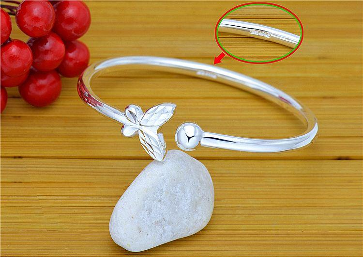 9999 sterling silver bangle genuine sweet butterfly LADIES open single bead Stylish Silver nice price wholesale fashion