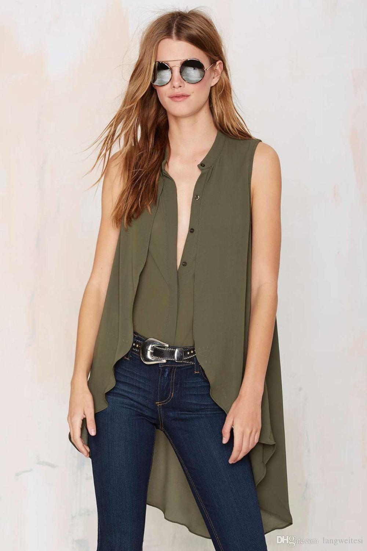 Yidi 2017 Spring New Women Sleeveless Shirt Collar Irregular Long
