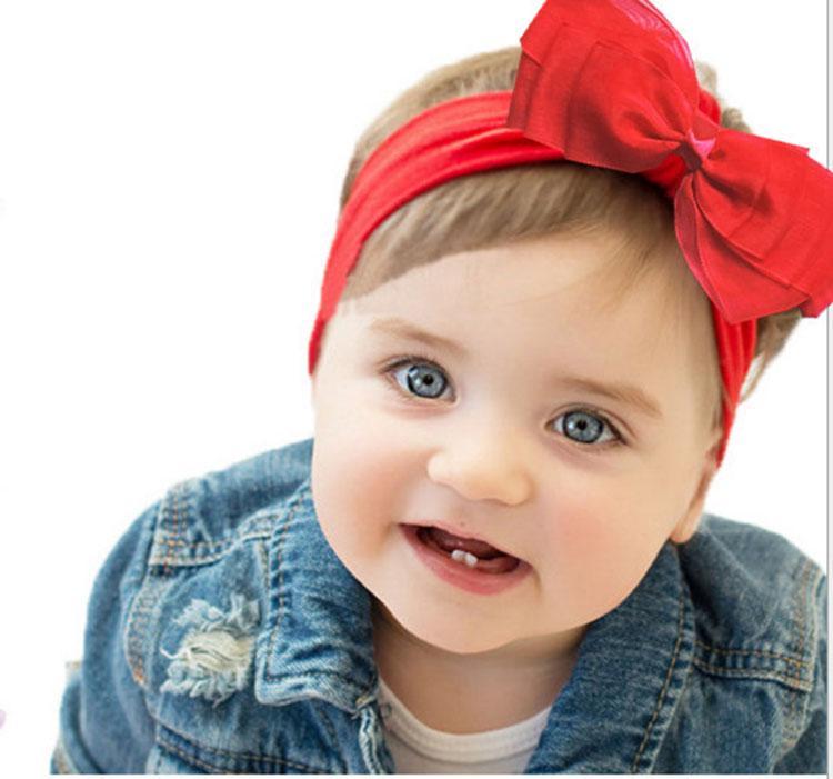new Ins baby chiffon hairband kids elastic big bow headband 2017 hot girls hair accessory