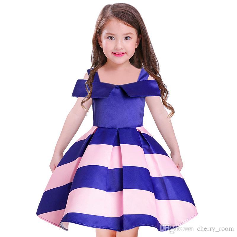 Großhandel Kinder Prinzessin Kleid Streifen Big Girl Liebsten ...