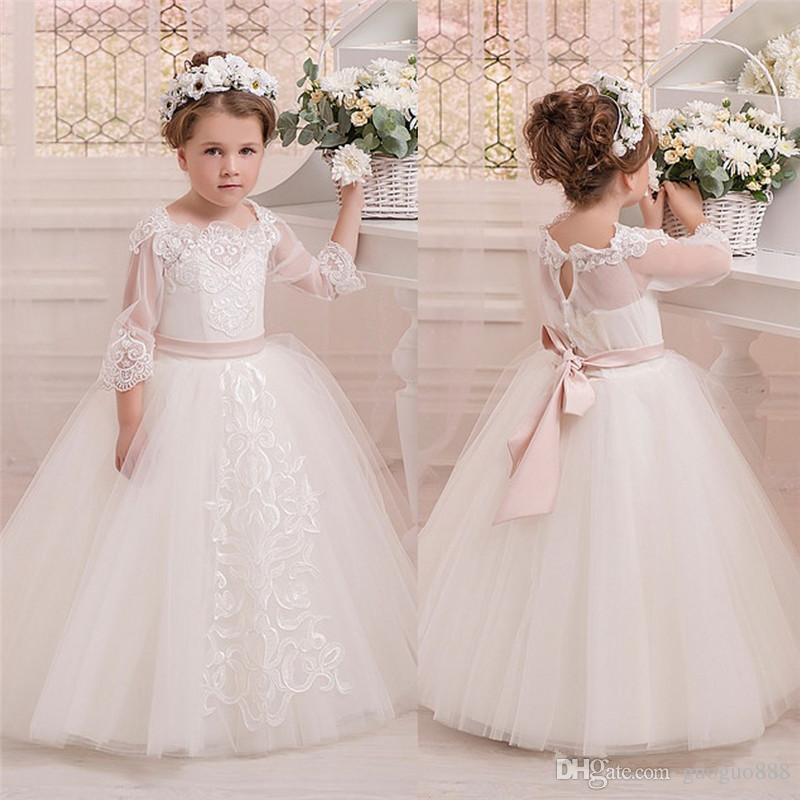 2017 High End Gown Flower Girl Dress Little Girls Pageant Dresses Wedding Beading Cheap Under 50 Clearance