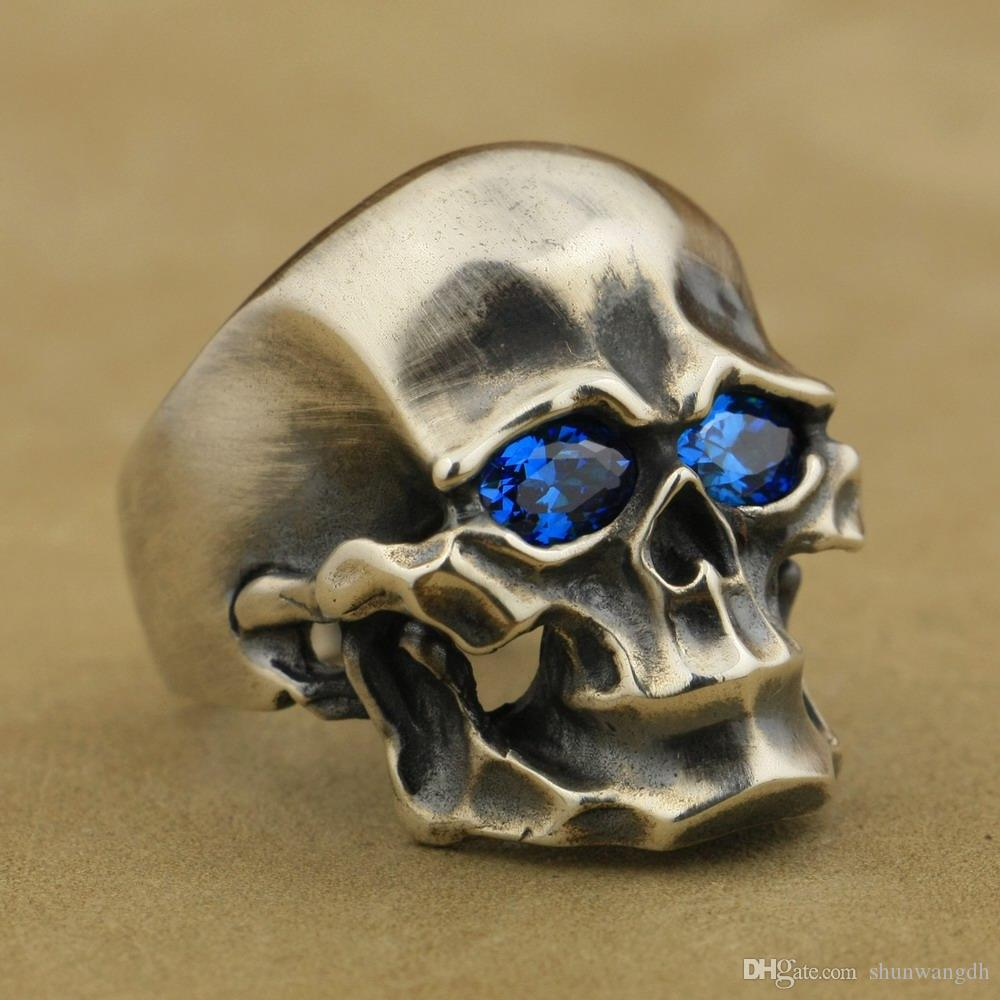 LINSION Heavy 925 Sterling Silver Blue CZ Skull Mens Biker Punk Ring TA44 US Size 7 to 15