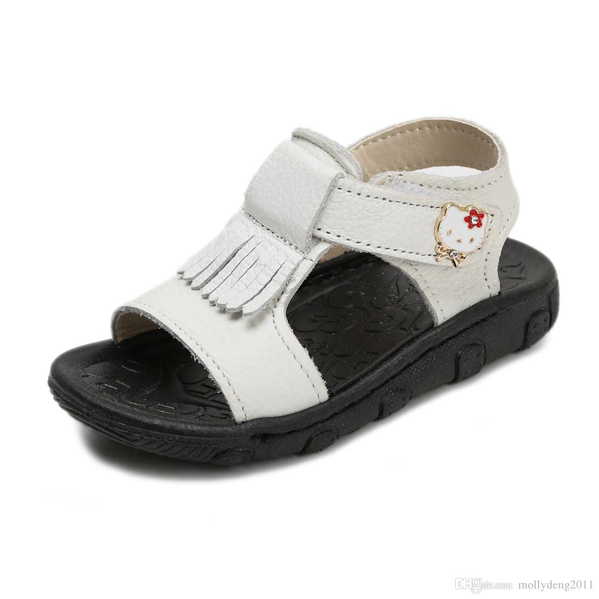 a9ea50289 Hello Kitty Children Shoes Girls Sandals Summer Beach Genuine Leather  Toddler Baby Girl Sandals Soft Little Kids Sandals Manual Stitching Kid  Shoes Cheap ...