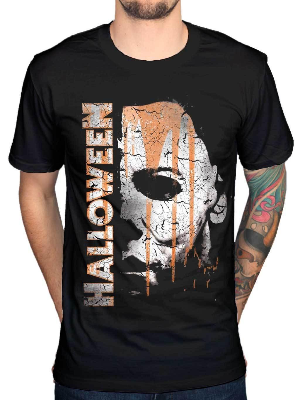 2017 mens new cute halloween michael myers mask and drips t shirt scary movie horror design t shirt hipster tops mens tees men t shirts geek t shirts from