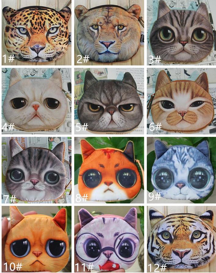 Peluş Mini 3d Kedi Çanta Köpek Kaplan Hayvan Yüz Çanta Sikke Çanta Kız Çocuklar Cüzdan Kadın Çanta Debriyaj Kılıfı