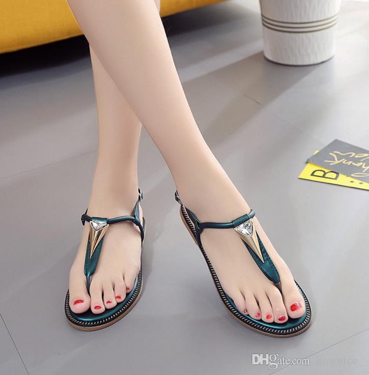 Summer Fashion Infradito Sandali da spiaggia da donna String Green Green Bands Flat Shoes Gladiator