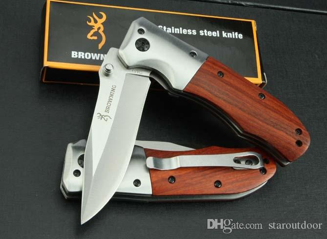 Browning DA51 Fast Open Tactical Cuchillo plegable Mango de madera 3Cr13Outdoor Camping Hunting supervivencia Herramienta de Cuchillo de bolsillo EDC Tool Collection