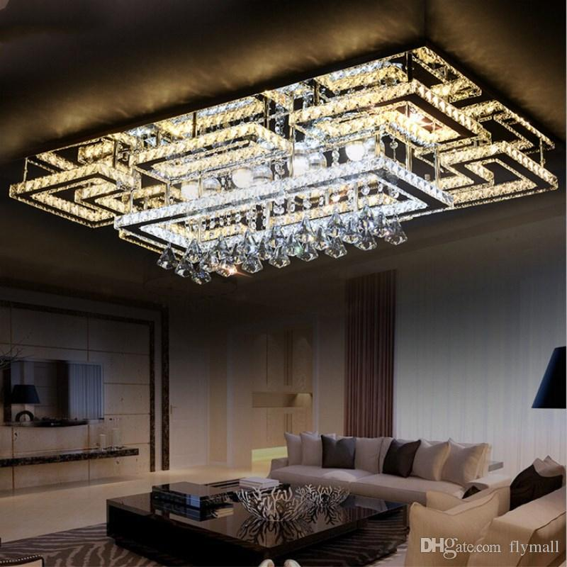 Grosshandel Luxus Moderne Led Kristall Deckenleuchte Quadratische