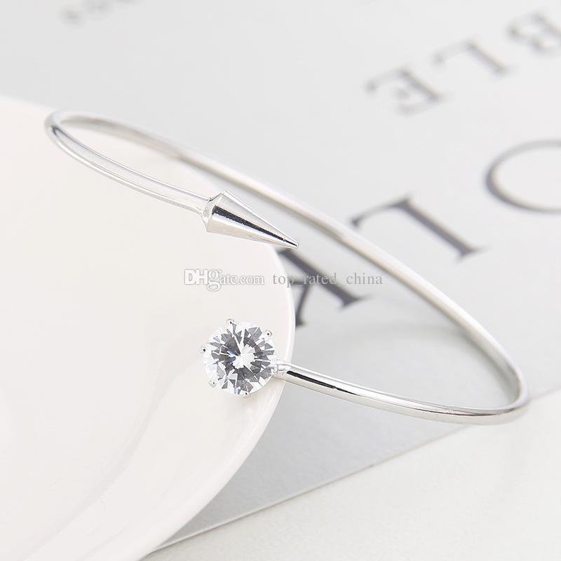 Fashion silver gold plated awl charm bracelet diamante zircon open bracelet for women cheap jewelry B1014