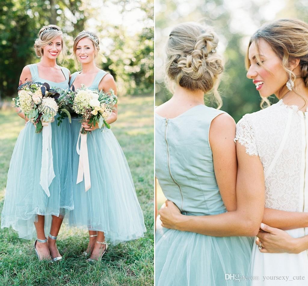 Summer light blue tea length bridesmaid dresses square neck summer light blue tea length bridesmaid dresses square neck shoulder straps satin tulle high low bridesmaid gowns beach wedding guest dress custom ombrellifo Choice Image