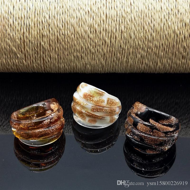 Wholesale Hot 17-19mm Dots Gold Sand Lampwork Glass Murano Rings, Fashion Murano Rings