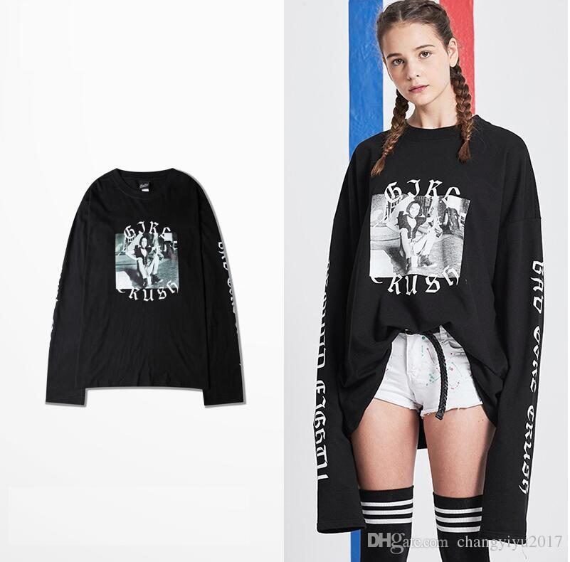 korean style 2017 brand new bad girl crush printed long