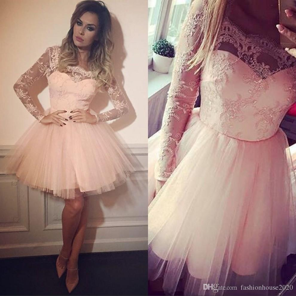 3079a4cd814 Pink Blush Lace Short Prom Dresses Long Sleeves Arabic Style Tulle Knee  Length Cheap Homecoming Dress Plus Size Formal Party Gowns School Prom  Dresses The ...