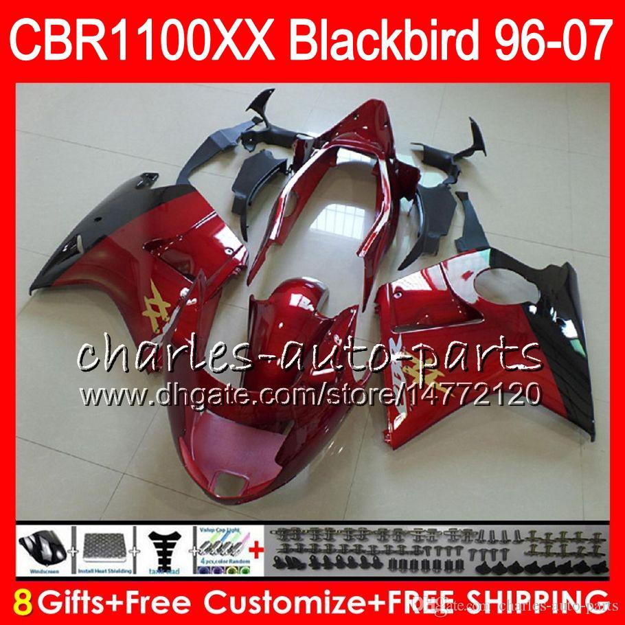 Body For HONDA Blackbird red black CBR1100 XX CBR1100XX 02 03 04 05 06 07 81NO61 CBR 1100 XX 1100XX 2002 2003 2004 2005 2006 2007 Fairing