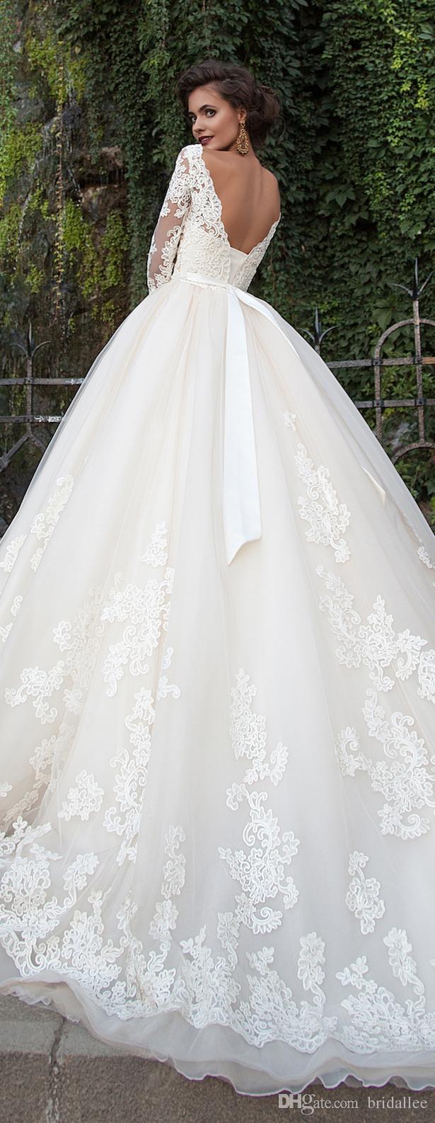 Vestido de noiva Cepillo festoneado Tren Vestidos de novia Apliques de gasa Vestidos de novia Manga larga A Line robe de mariage
