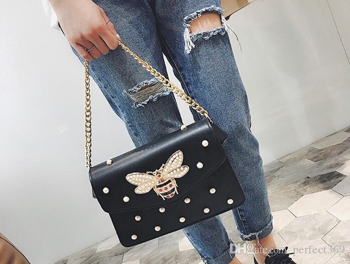 Nuevo bolso de es precioso Rhinestone bolso de cadena elegante mujer perla de abeja cuero decorativo bolso de mujer bolso