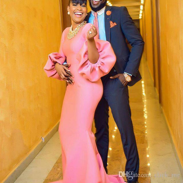 Розовые девушки вечерние платья вечерние платья рукава puff Jewel Русалка Пром платье без ожерелье коктейль платье с длинными рукавами Vestidos