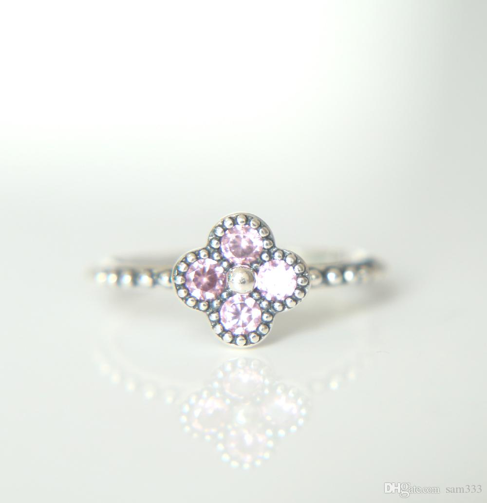 2018 100 925 Sterling Silver Pink White Clear Cz Romantic Daisy