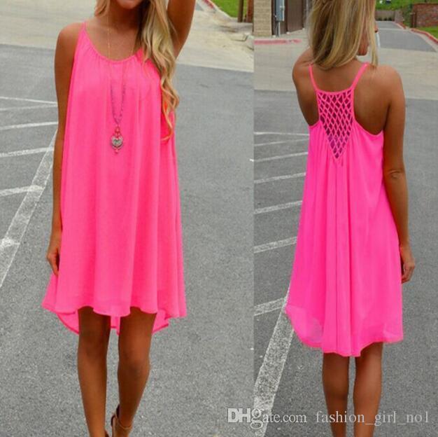 패션 섹시 캐주얼 드레스 여성 여름 민소매 이브닝 파티 비치 드레스 짧은 쉬폰 미니 드레스 BOHO 여성 의류 의류