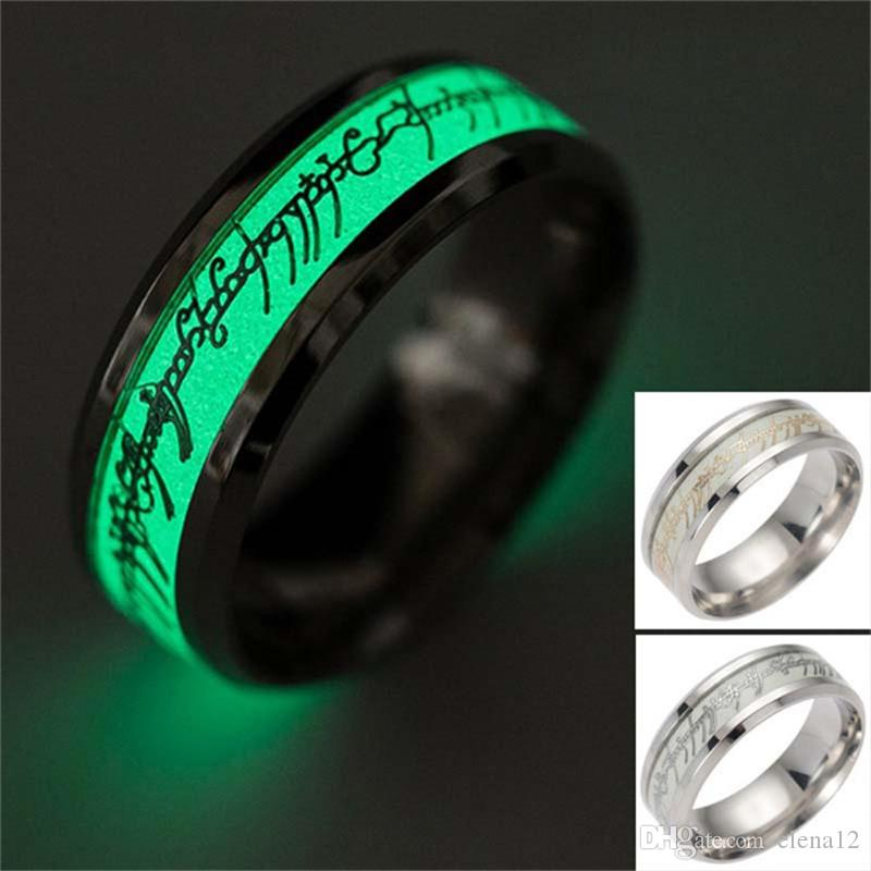 the lord of ring fluorescent glowing finger rings stainless steel lotr gold silver letter glow in the dark rings women wedding ring 080246 men wedding bands - Lord Of The Rings Wedding Band
