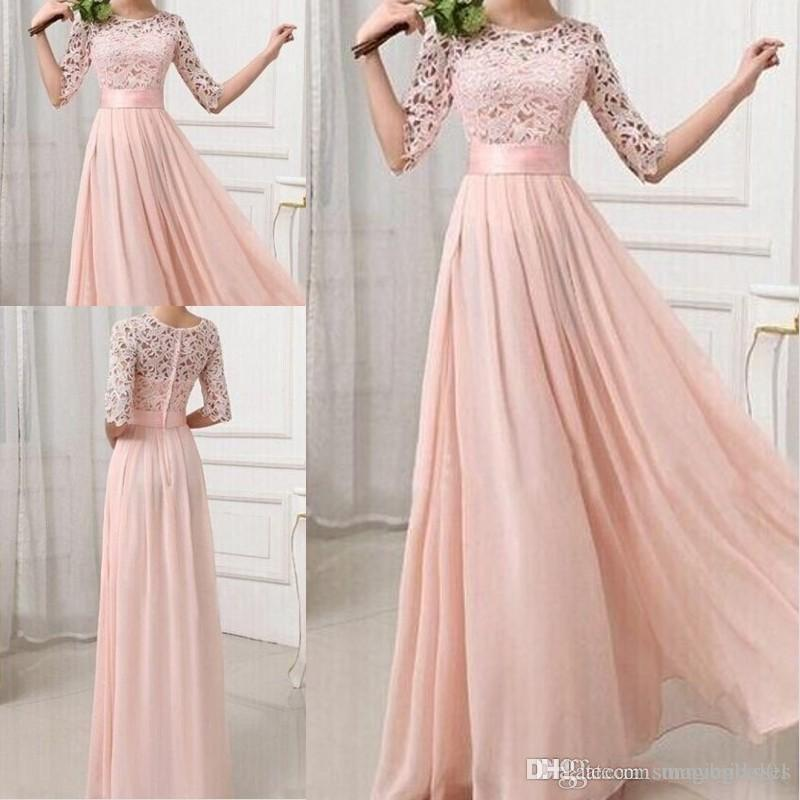 Formal Bridesmaid Dresses Sexy Chiffon Long Maids Of Honor Bridesmaids Dress With Lace Pink Champagne Royal Blue Gowns 2017 For Cheap