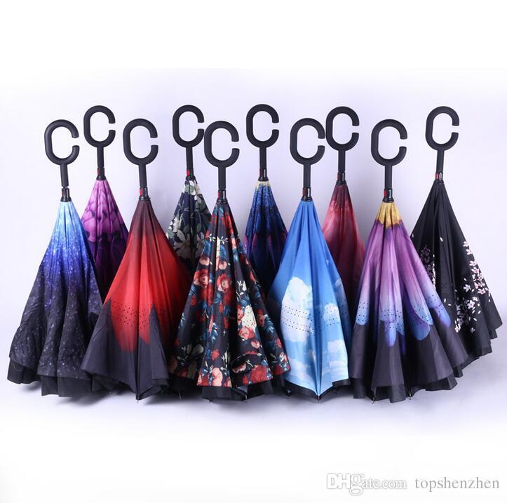 Coupe-vent inversé pliant double couche inversé Chuva parapluie Self Stand Inside Out Protection contre la pluie C-crochet mains pour voiture pluie en plein air