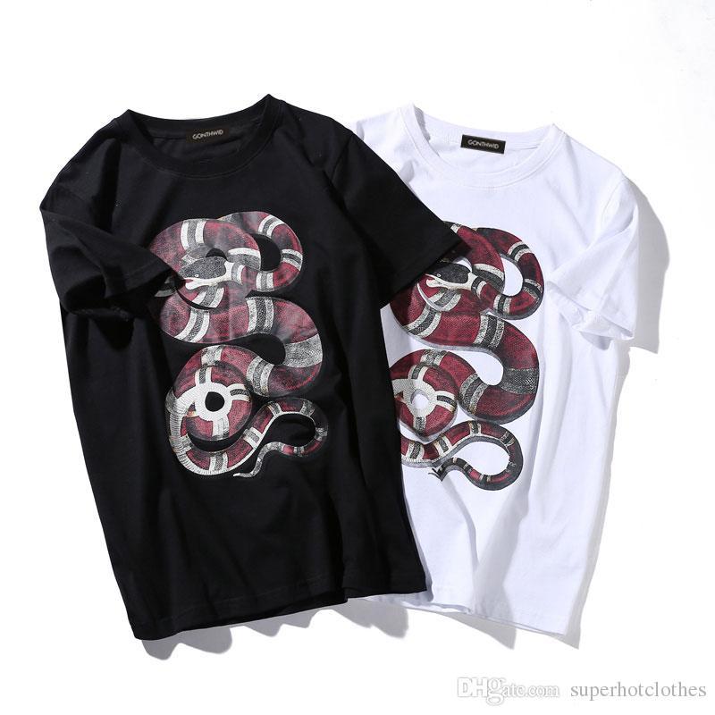 2017 Python T-Shirt Yılan 3D Baskılı Üstleri Tee Mens Kadın Moda Punk Rock Rahat Pamuk Kısa Kollu O-Boyun Tee Gömlek
