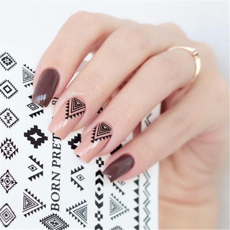 2 Patterns Sheet Born Pretty Triangle Diamond Shape Nail Art Water