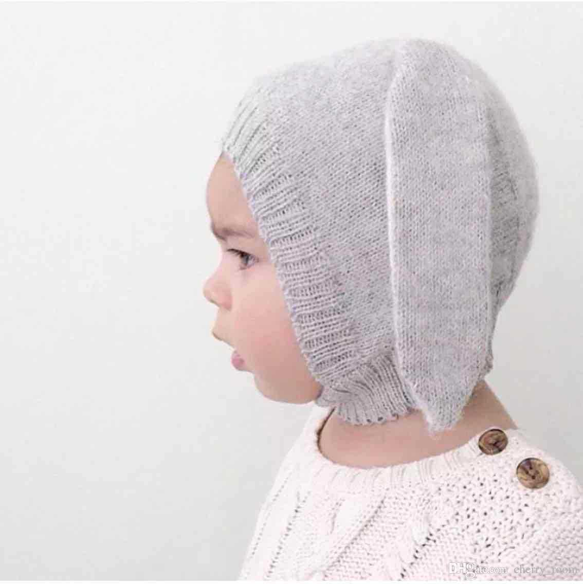 New Cute Baby Hats Caps Fashion 2017 Cartoon knit Rabbit Sweater Ears Crochet Hat Babies Boy Girl Caps Lovely cap A6401