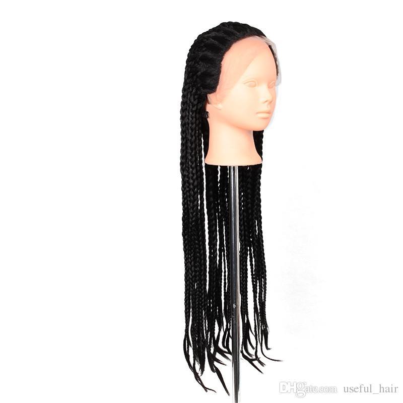 Heiße Verkauf geflochtene Spitze vorne Perücken 22inch schwarzer lockiger synthetischer 3x Box Zöpfe Perücken 300gram Häkeln Zöpfe schwarz synthetische Perücken für schwarze Frauen