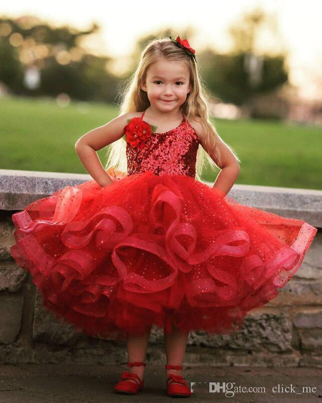 Lovely Red Tea Length Girls Pageant Dresses Halter Sequins Lace Puffy First Communion Dress Organza Cute Personalized Flower Girls Dress