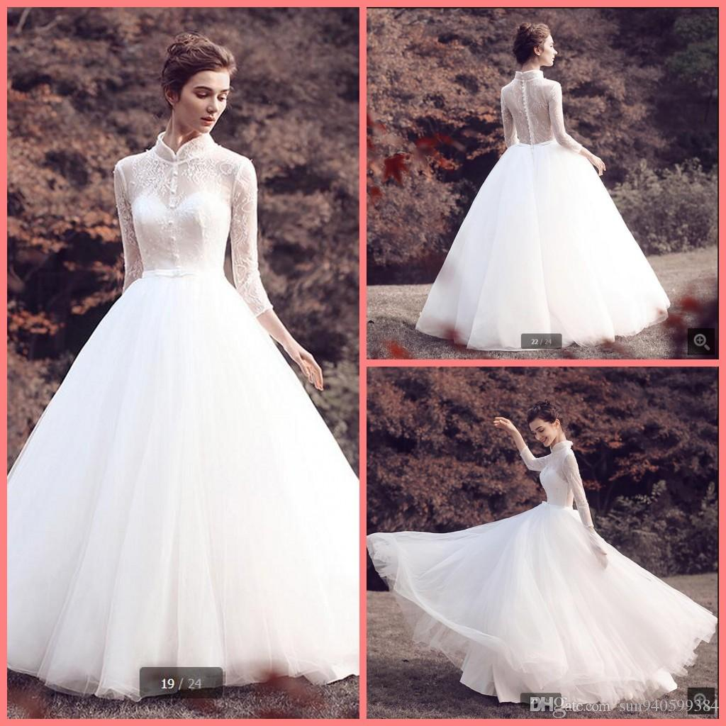 Discount Robe De Soiree white Lace Beading High Neck Wedding Dress ...