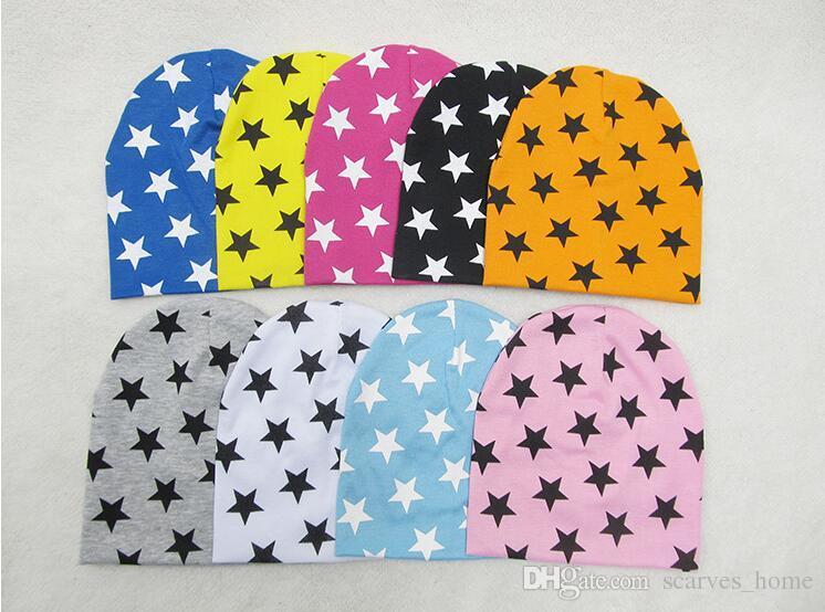 2017 Bebé Sombreros Estrella Impresión de Algodón Gorras Del Bebé niños Sombrero bufanda 2 unidsset Set Gorras Para Baby Boy Marca Niños Sombrero de Invierno
