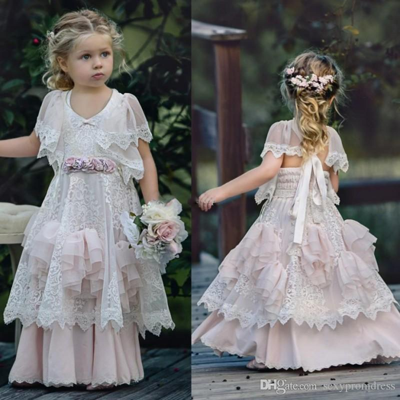 Cute Lace Tiered Flower Girl Dresses For Wedding White And Blush Pink Girls Pageant Gowns Floor Length Princess Baby Prom Party Dress