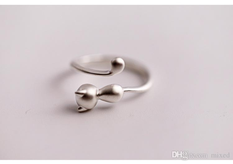 925 Sterling Silver Cat Rings For Women Jewelry Beautiful Finger Open Rings For Party Birthday Gift