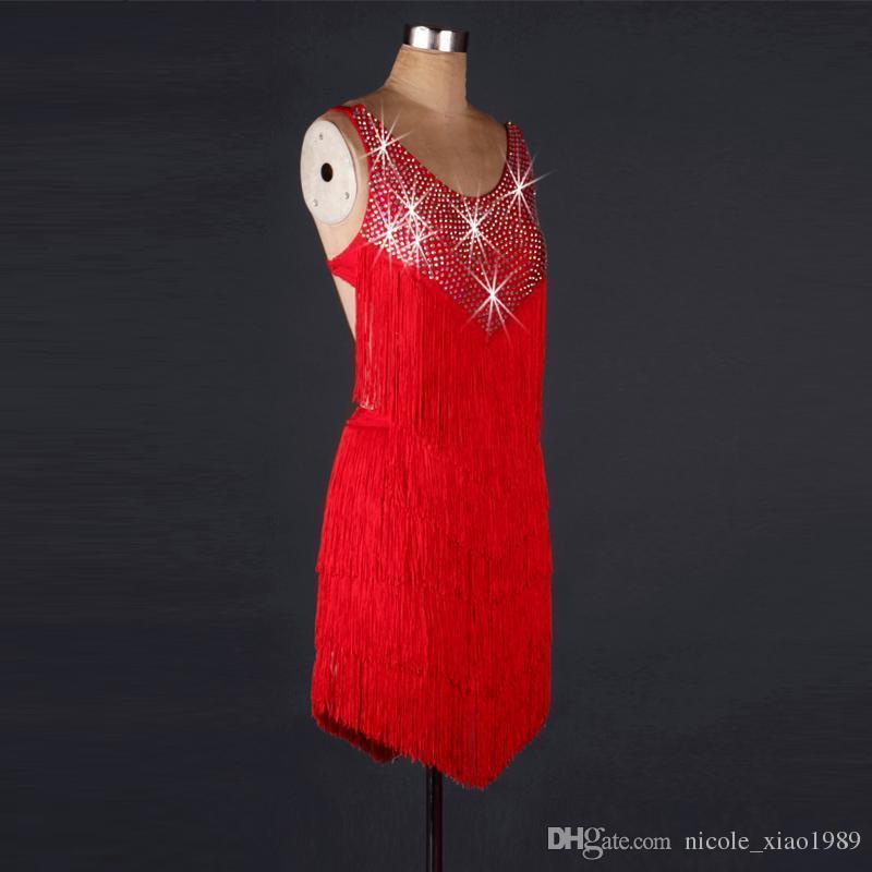 NEW RED High grade diamond Dance Latin Rumba Samba girl dress skirt is ballroom costume competition sexy clothes tassels skirt customized