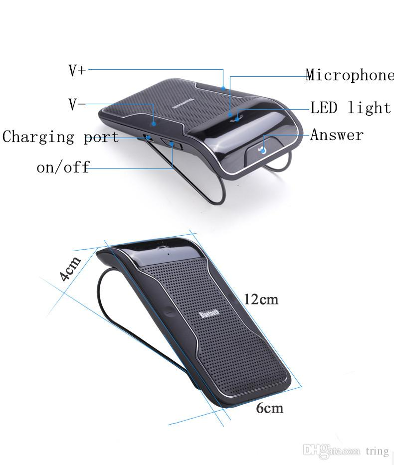 Bluetooth Hands Free Car kit Sunvisor Clip Holder Bluetooth Car Speaker phone Bluetooth Receiver With Mic +Car Charger