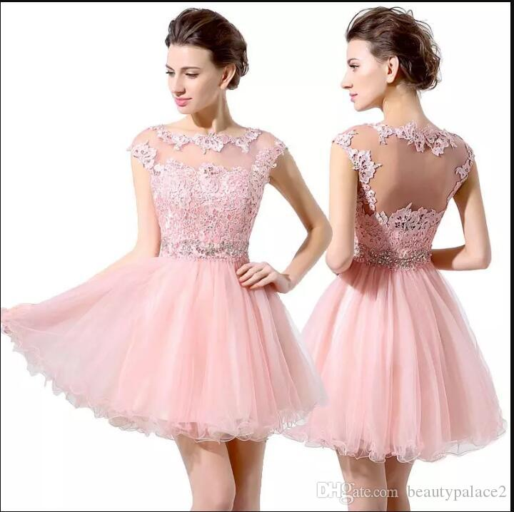 Junior 8th Grade Party Dresses Cute Pink Short Prom Dresses Cheap A-Line Mini Tulle Lace Beads Cap Sleeves Bateau Homecoming Dress