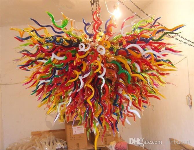 Elegante Hauptdekorationen Murano Hand geblasenem Glas Kronleuchter LED-Lichtquelle Halle Lobby Dekoration Hand geblasenem Glas Kronleuchter Licht