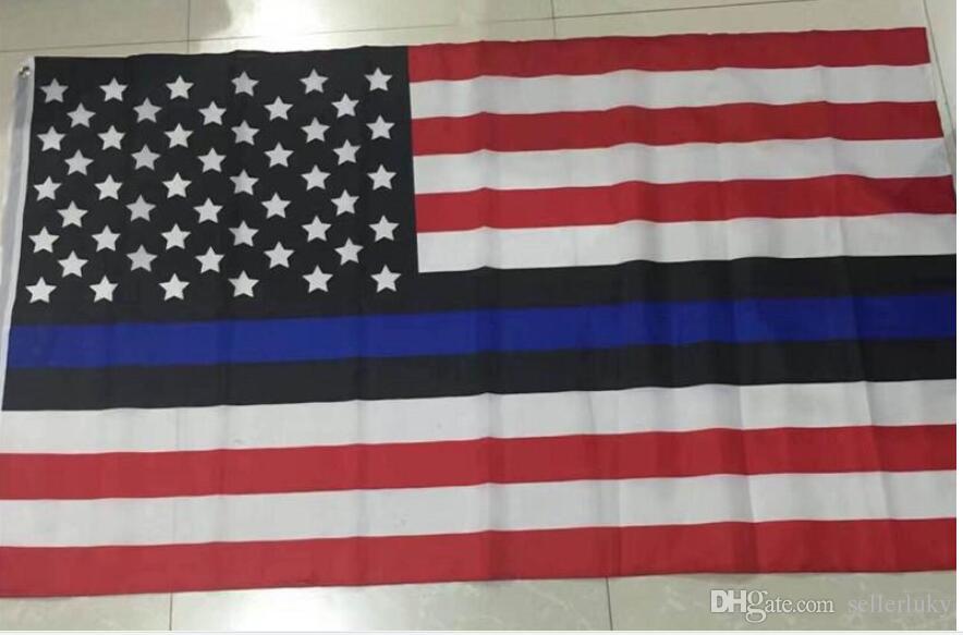 4 tipi di 90 * 150cm BlueLine USA polizia Bandiere 3x5 piede Thin Blue Line Stati Uniti d'America Black Flag, bianco e blu bandiera americana con occhielli in ottone