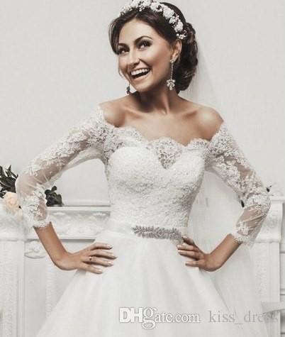 Зимний стиль свадебных платьев бальное платье последний дизайн принцесса три четверти рукава свадебные на заказ кружева отвесные аппликации из бисера створки