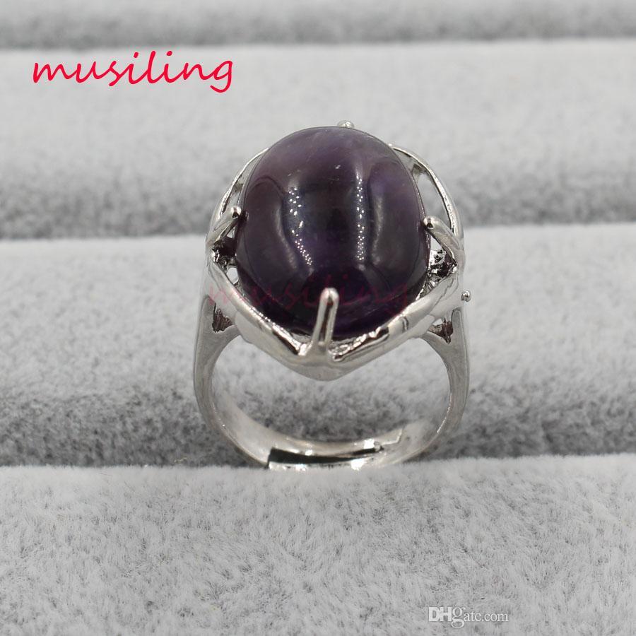 Anello nuziale di monili di musiling Anelli di cristallo di pietra naturale Charms cristallo ovale Lapislazzuli ecc Accessori regolabili Gioielli placcati argento