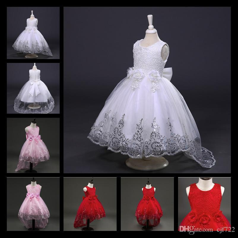 499644fe36 2017 New White Red Lace Tulle Flower Girl Dress Princess Pearl Ball Gown  Party Wedding Girls Dresses For 2 12 Y Evening Gowns Big Girls Dresses Cheap  Little ...