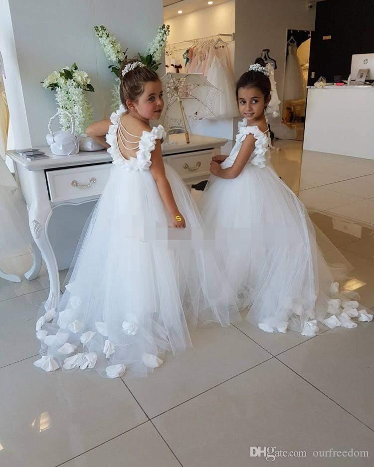 2019 Schöne Weiße Blume Mädchen Kleider Für Hochzeiten Scoop Rüschen Spitze Tüll Perlen Backless Prinzessin Kinder Birthday Party Kleider