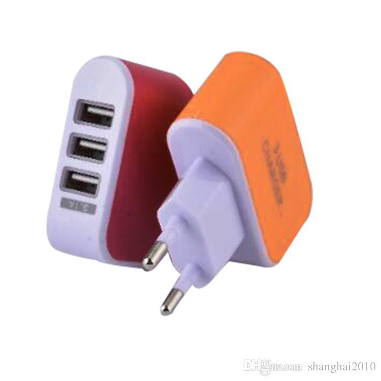 EE. UU. EU Plug 3 USB Cargadores de pared 5V 3.1A Adaptador de viaje de LED Adaptador de corriente conveniente con puertos USB triples para teléfono móvil con opp bag