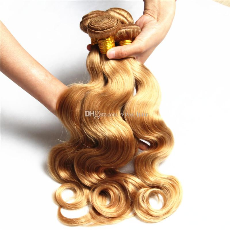 8A 3 Unids Malasia Miel Rubia Virgen Cabello Humano Paquetes Body Wave Hair Teje # 27 Strawberry Blonde Hair Extensions Dhl Free