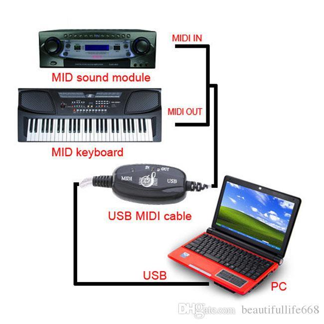 Commercio all'ingrosso Nuovo USB TO MIDI Link Cable Wire convertitore di tastiera Music Adapter con alta qualità