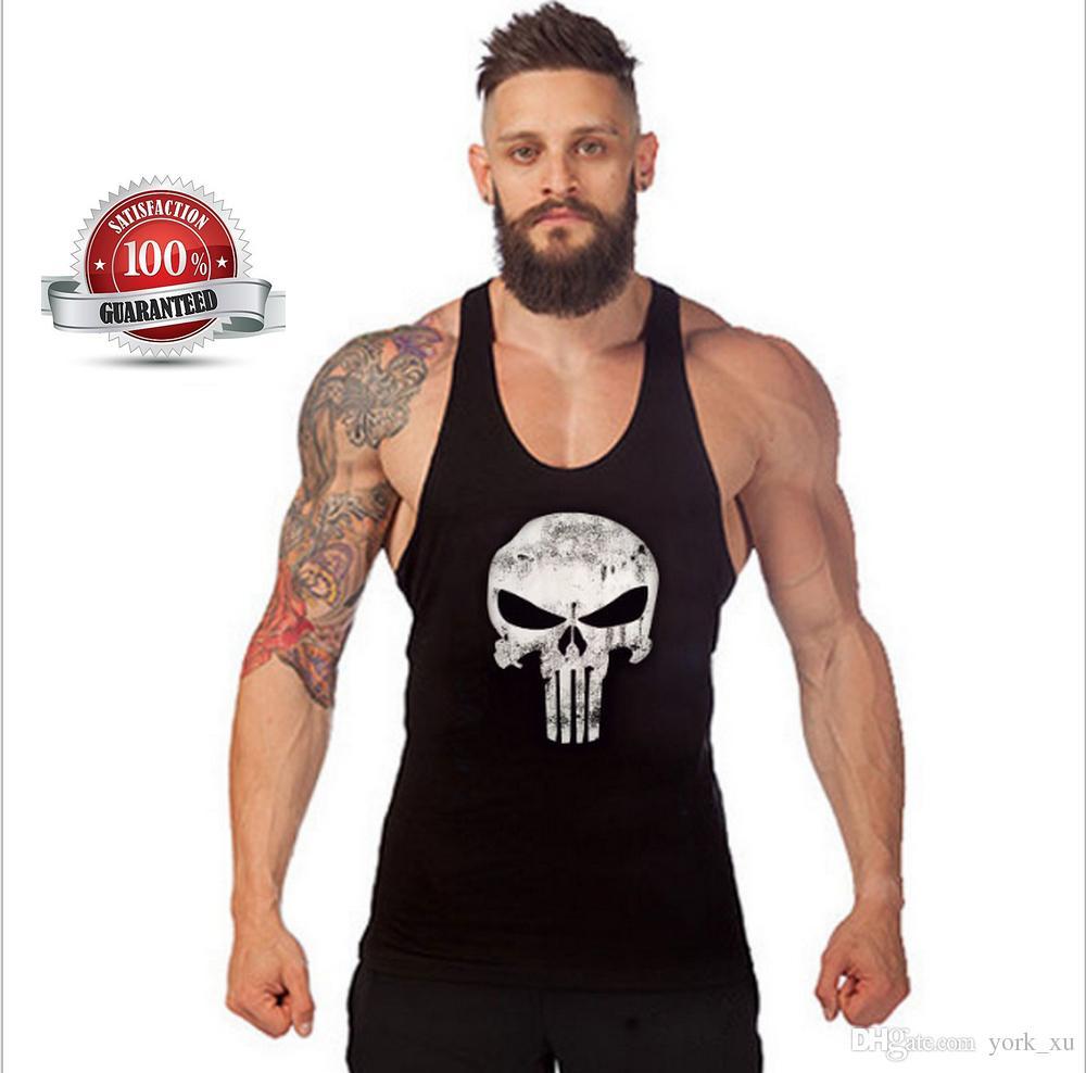 4b601ef46af1f3 2019 Mens Skull Print Stringer Bodybuilding Gym Tank Tops Workout Fitness  Vest Muscle Workout T Shirt Bodybuilding Tank Top Out161 From York xu